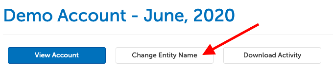 "Arrow pointing at button ""Change Entity Name"""