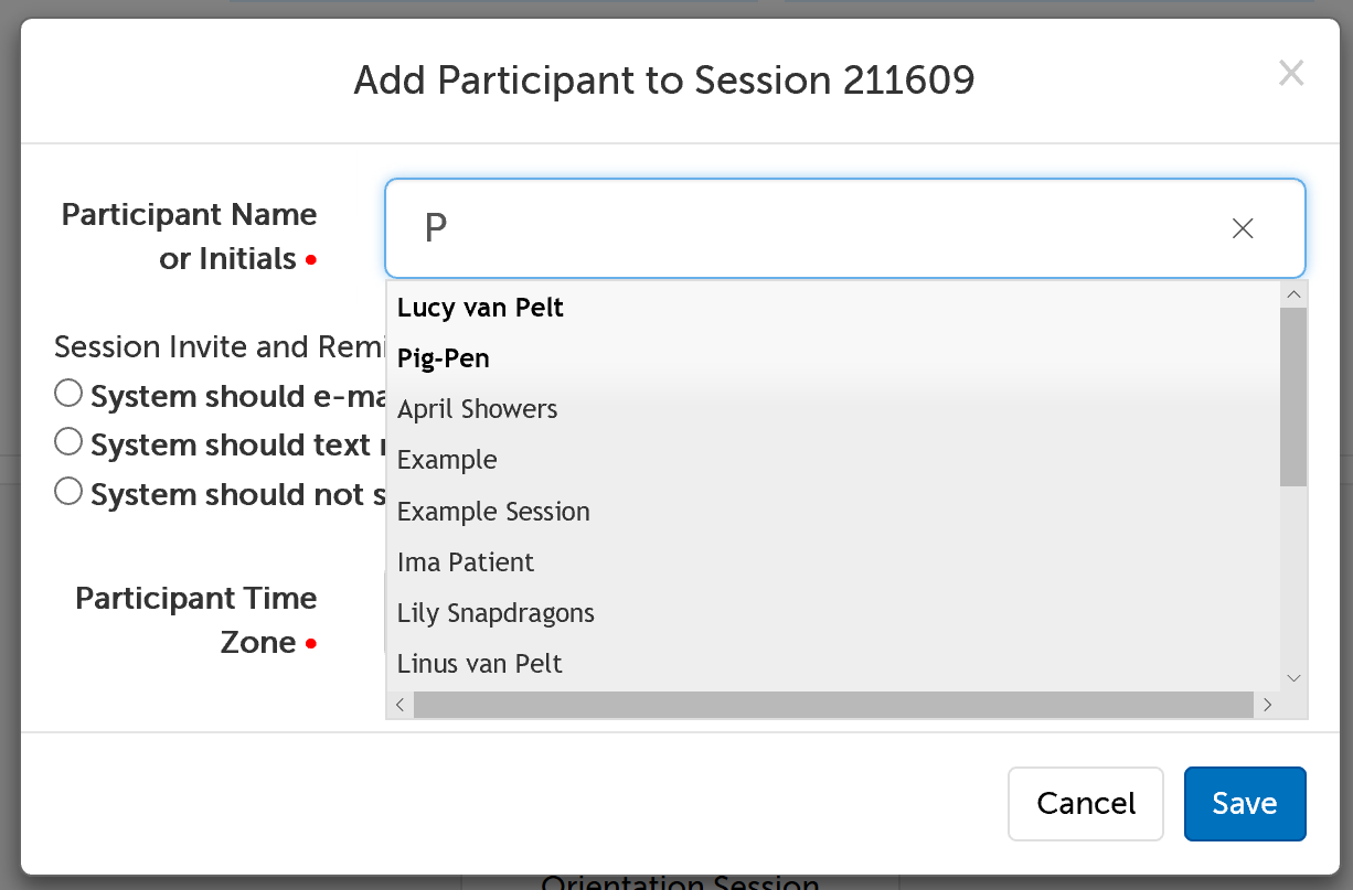 Autofill of participant names when scheduling a session