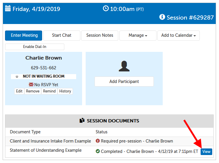 "Example of a meeting panel, where there are 2 documents listed in the Session Documents section. One required pre-session not filled out yet, and 1 marked completed with an arrow pointing to the ""View"" button"
