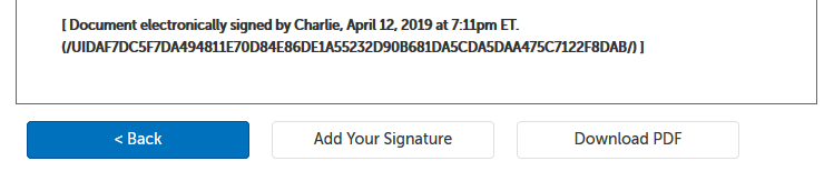 Signed document e-signature, with 3 buttons: < Back, Add Your Signature, Download PDF